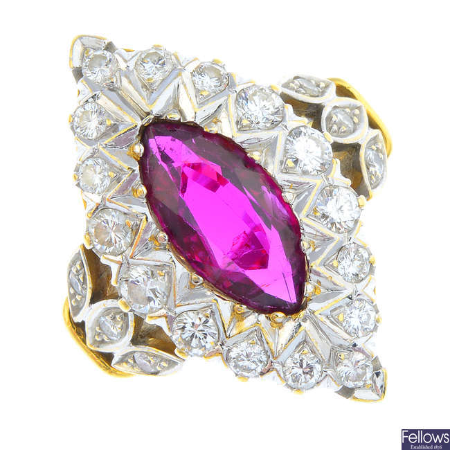 A Thai ruby and diamond cluster ring.