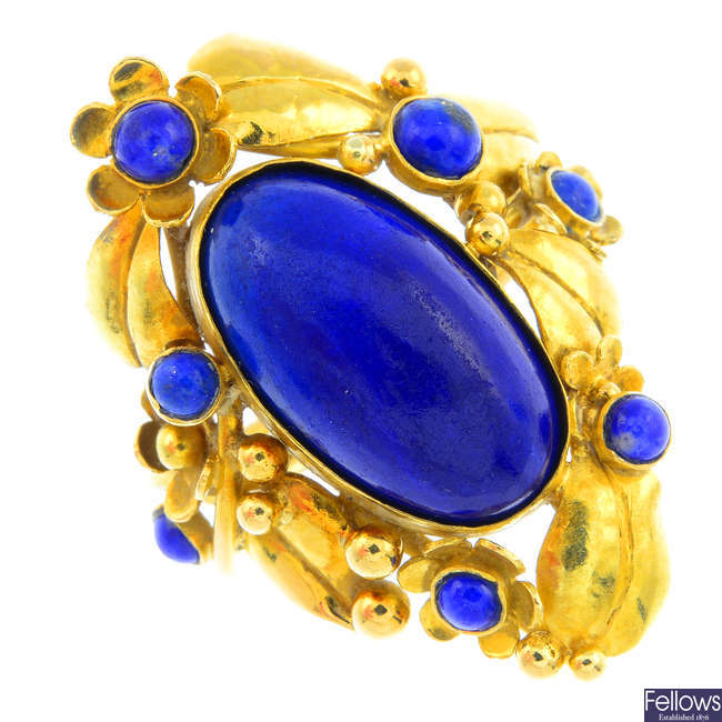A 1970s 18ct gold lapis lazuli ring, by Polly Gasston.