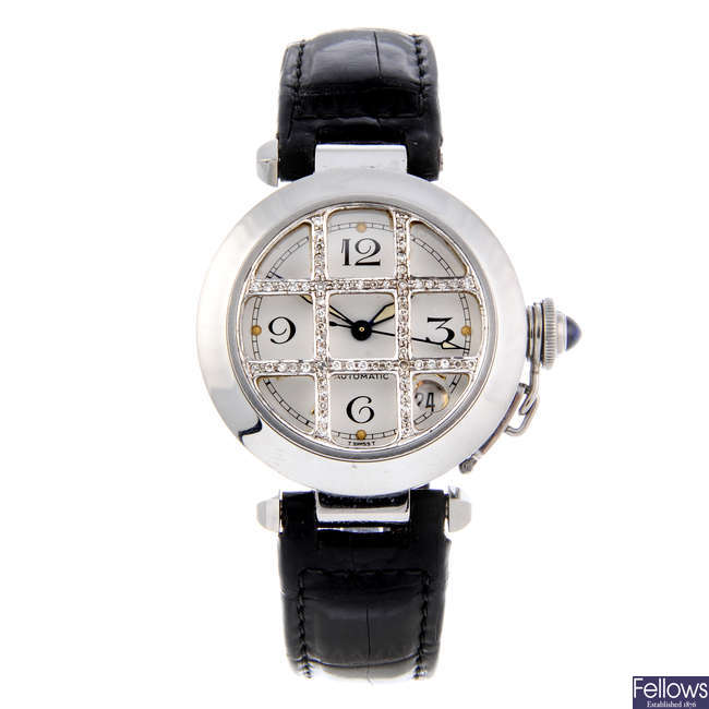 CARTIER - a stainless steel Pasha wrist watch.