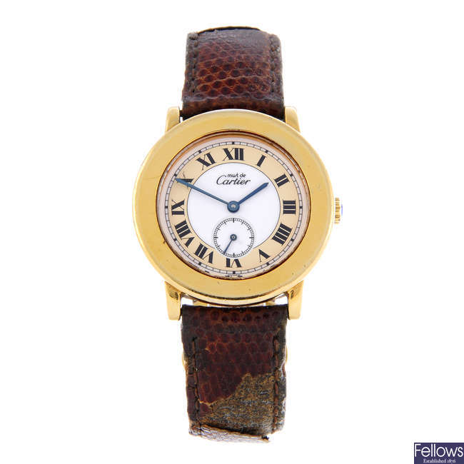 CARTIER - a gold plated silver Must De Cartier Ronde wrist watch.