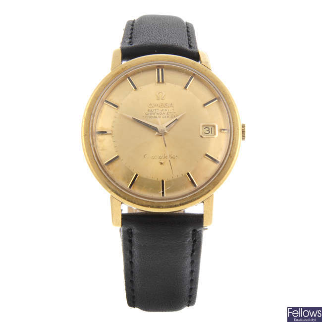 OMEGA - a gentleman's yellow metal Constellation 'Pie Pan' wrist watch.