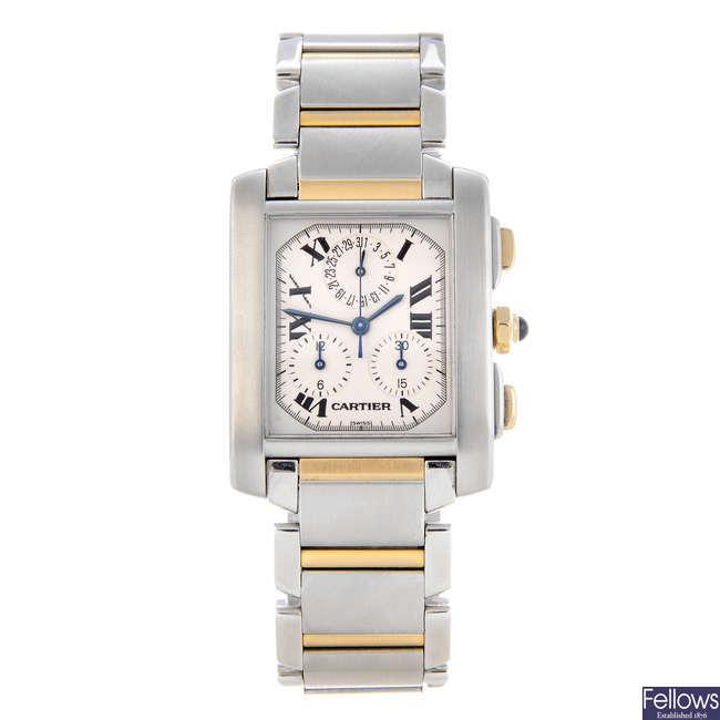 CARTIER - a bi-metal Tank Francaise Chronoflex chronograph bracelet watch.