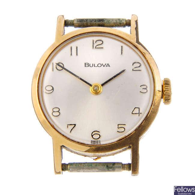 BULOVA - a lady's gold plated watch head.