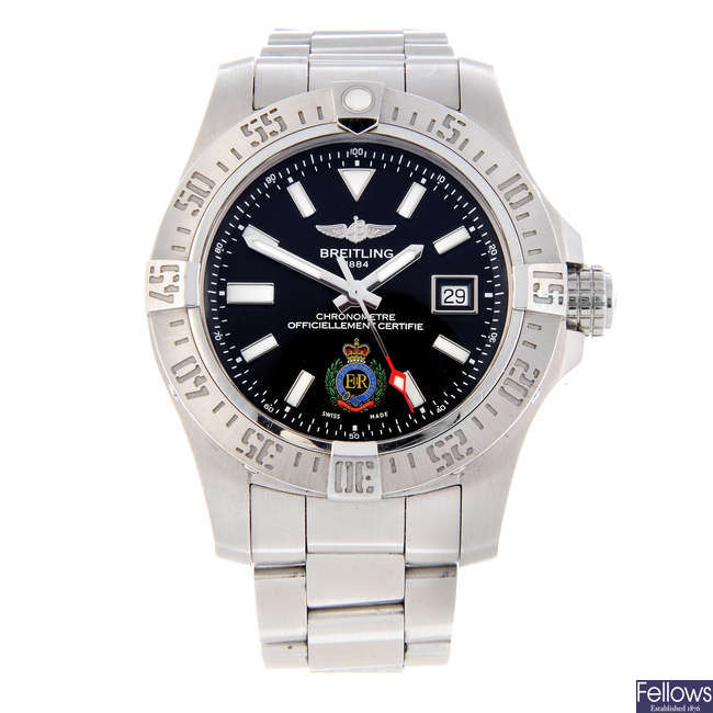 BREITLING - a limited edition gentleman's stainless steel Avenger II Seawolf Royal Engineers bracelet watch.