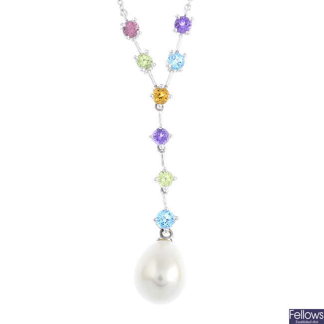 A 9ct gold cultured pearl and gem-set necklace.