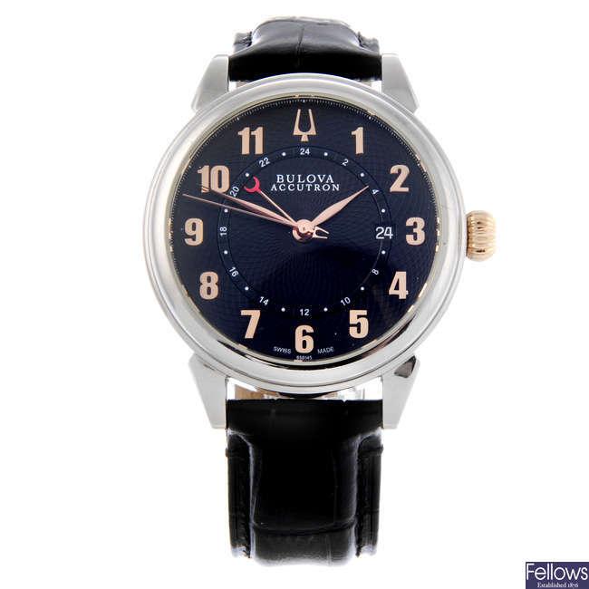BULOVA - a gentleman's stainless steel Accutron Gemini GMT wrist watch.