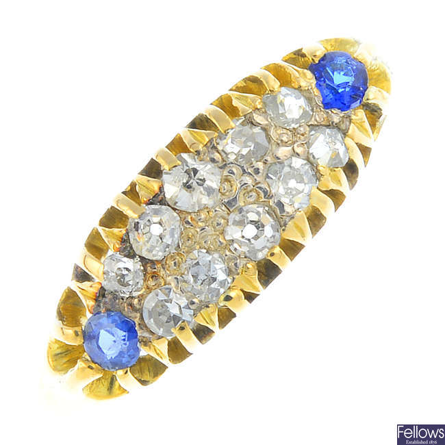 An early 20th century 18ct gold diamond and sapphire ring.