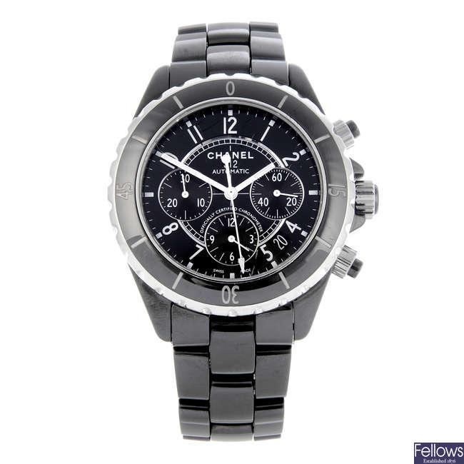 CHANEL - a ceramic J12 chronograph bracelet watch.