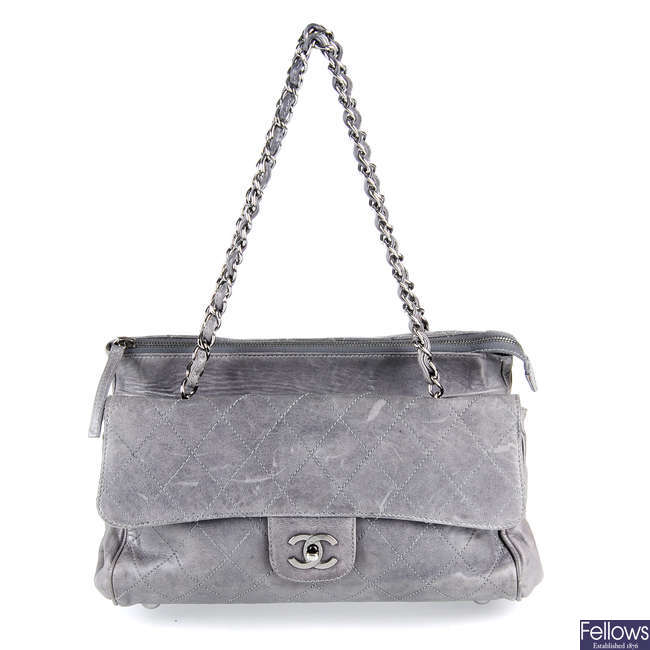 CHANEL - a grey Quilted Ritz Flap handbag