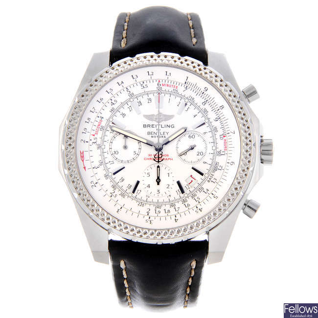 BREITLING - a gentleman's stainless steel Breitling for Bentley Motors chronograph bracelet watch.