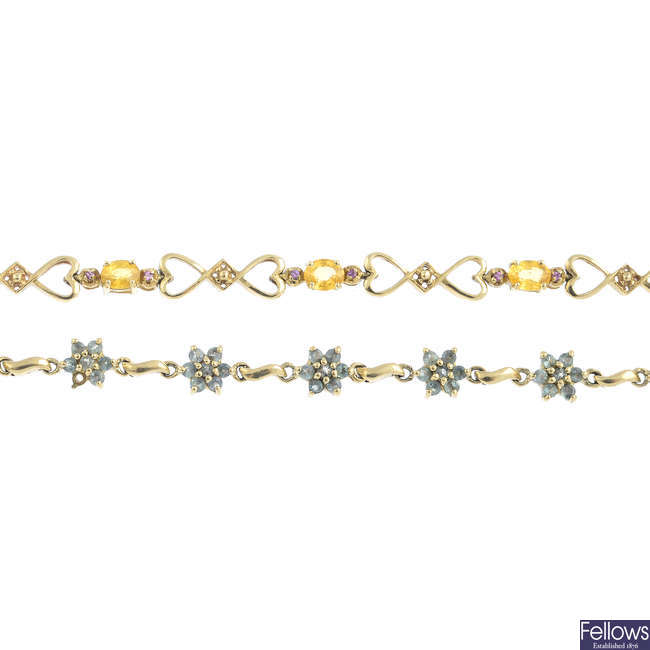 Two 9ct gold sapphire and gem-set bracelets.