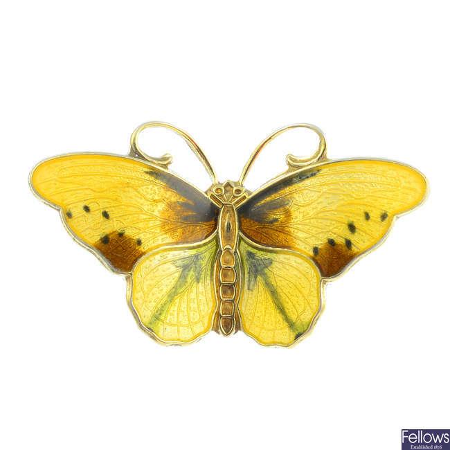 HROAR PRYDZ - a silver enamel butterfly brooch.