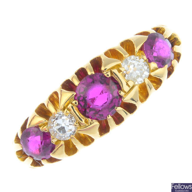 An early 20th century 18ct gold ruby and diamond five-stone ring.