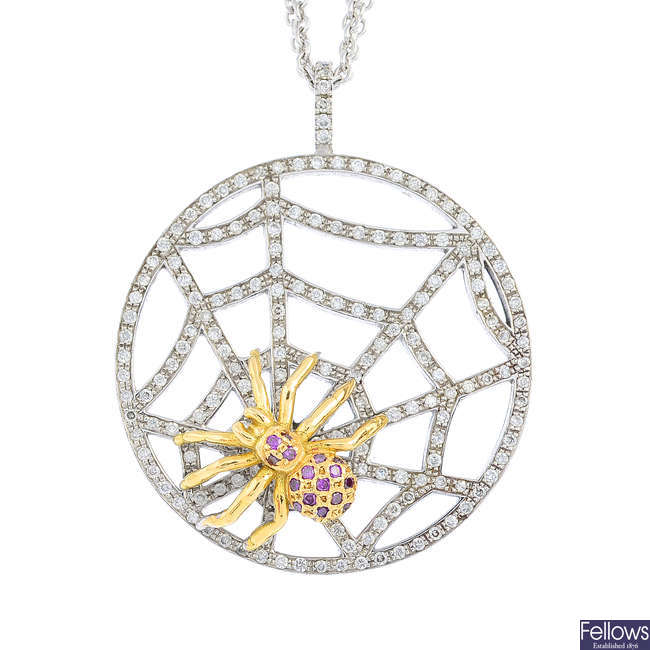 A sapphire and diamond spider and web pendant, with chain.
