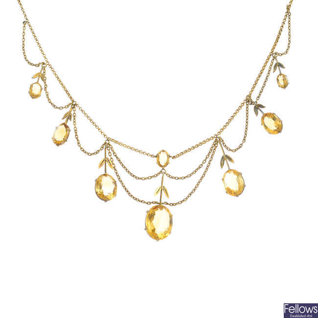 An early 20th century 18ct gold citrine necklace.