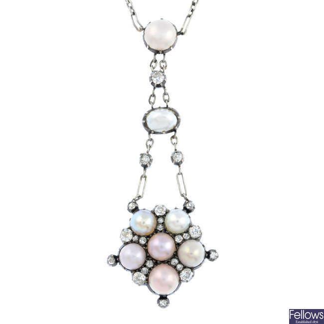 An Edwardian 18ct gold and platinum split pearl and diamond necklace.