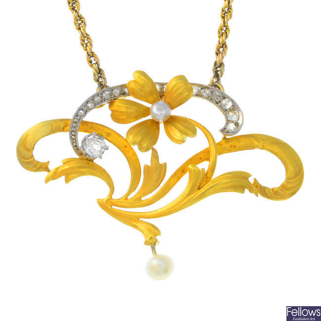 An Art Nouveau gold, diamond and cultured pearl necklace.