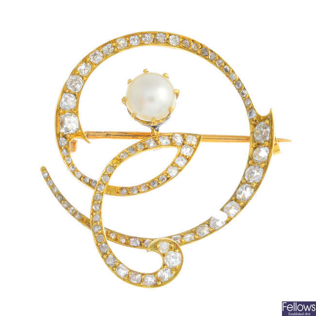 An Art Nouveau 18ct gold cultured pearl and diamond brooch.