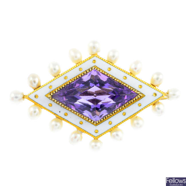 An early 20th century gold, seed pearl, amethyst and enamel brooch.