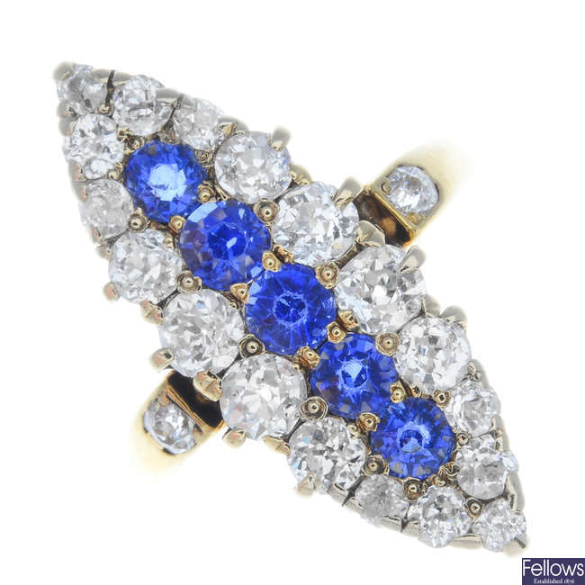 An early 20th century gold sapphire and diamond ring.