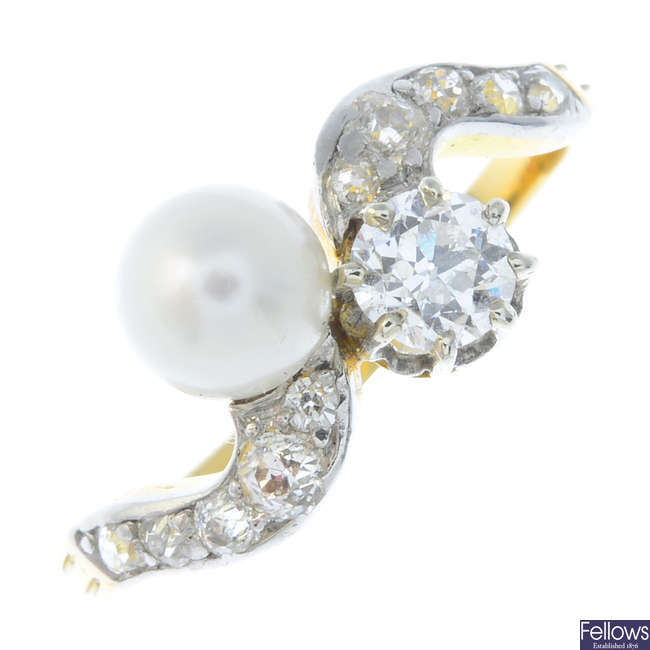 An early 20th century gold, pearl and diamond crossover ring.