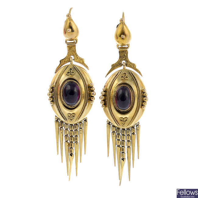A pair of late Victorian gold garnet earrings.