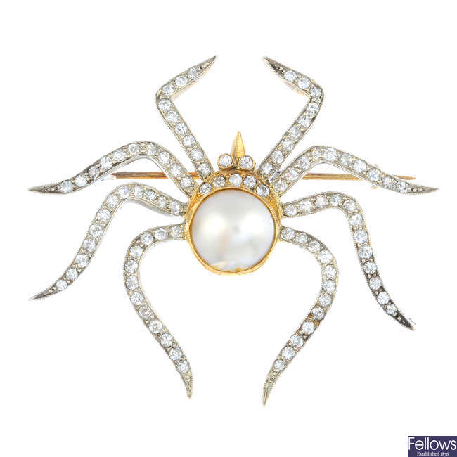 A mid 20th century natural pearl and diamond spider brooch.