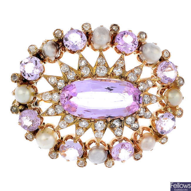 An early 20th century gold topaz, diamond and split pearl brooch