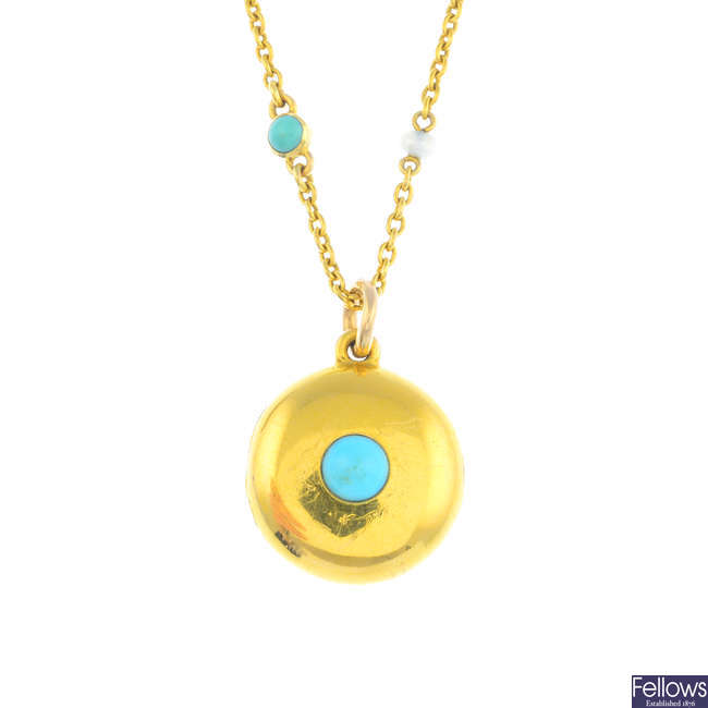 An early 20th century gold turquoise and seed pearl necklace.