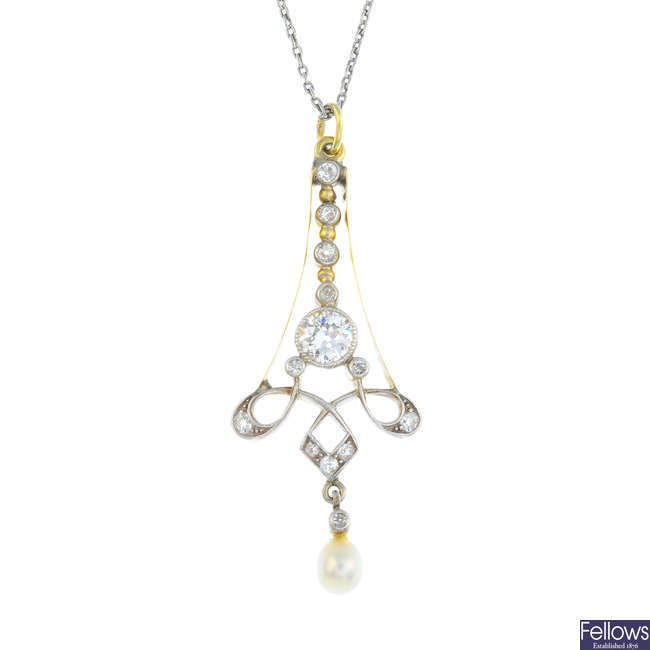 A diamond and cultured pearl pendant, with a chain.