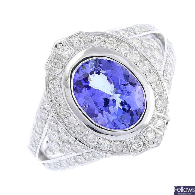 A tanzanite and diamond dress ring.