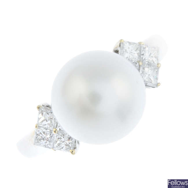 An 18ct gold diamond and cultured pearl dress ring.