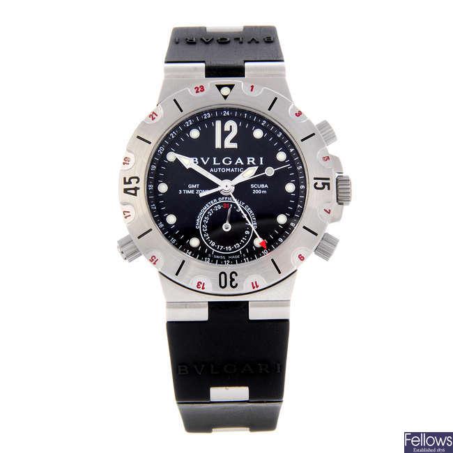 BULGARI - a gentleman's stainless steel Diagono Scuba GMT wrist watch.