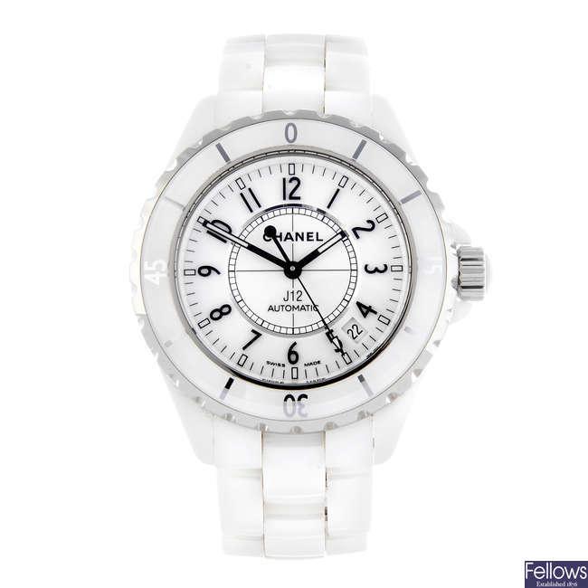 CHANEL - a lady's bi-material J12 bracelet watch.