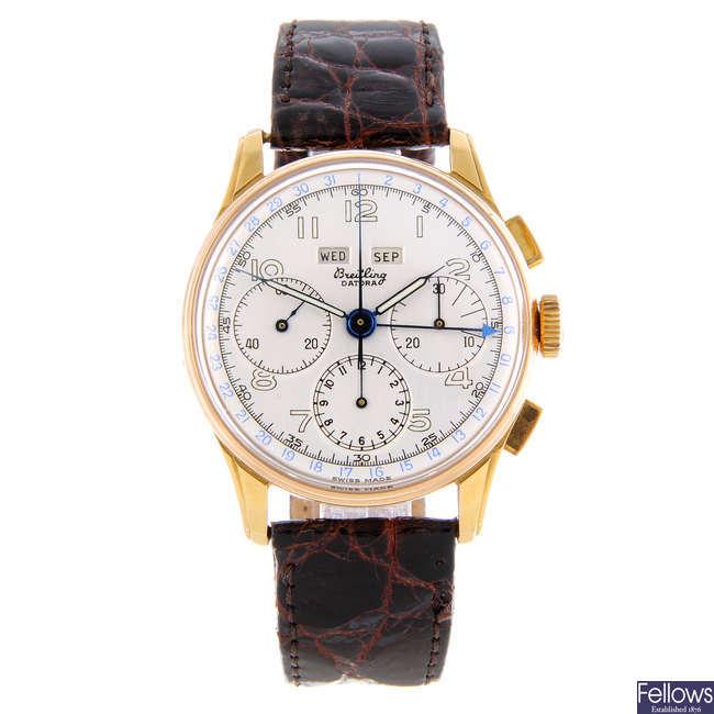 BREITLING - a gentleman's 18ct yellow gold Datora chronograph wrist watch.
