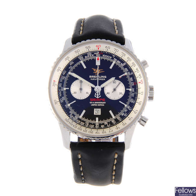 BREITLING - a limited edition gentleman's stainless steel Navitimer 'Wempe 125th Anniversary' chronograph wrist watch.