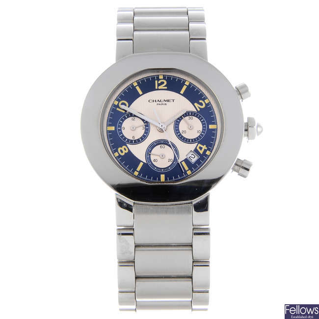 CHAUMET - a gentleman's stainless steel chronograph bracelet watch.