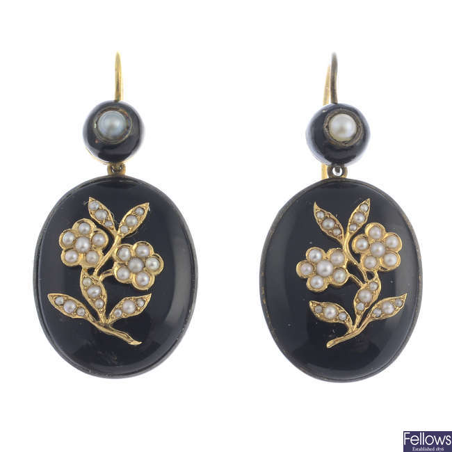 A pair of pearl and enamel earrings.