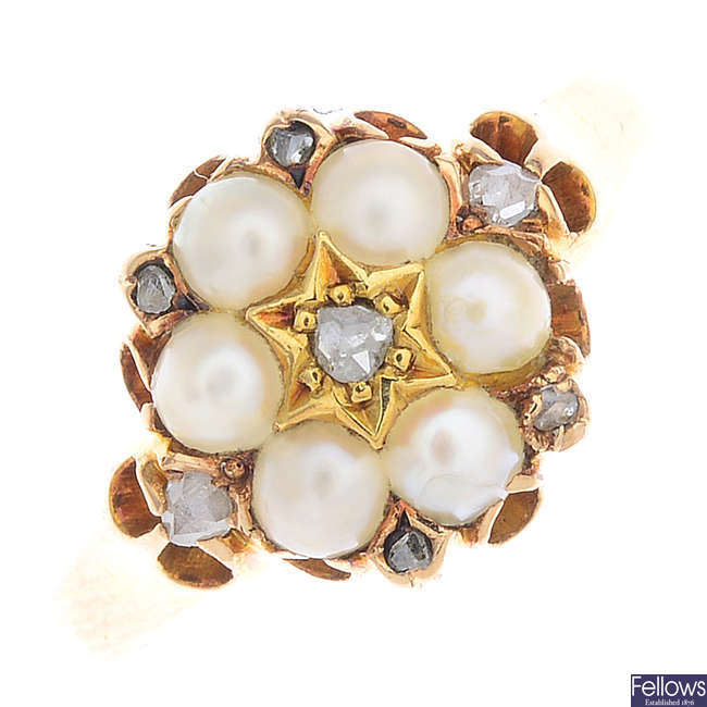 A mid Victorian 15ct gold split pearl and diamond cluster ring.