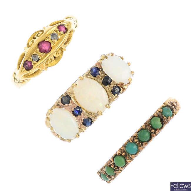 Three opal, diamond and gem-set rings.
