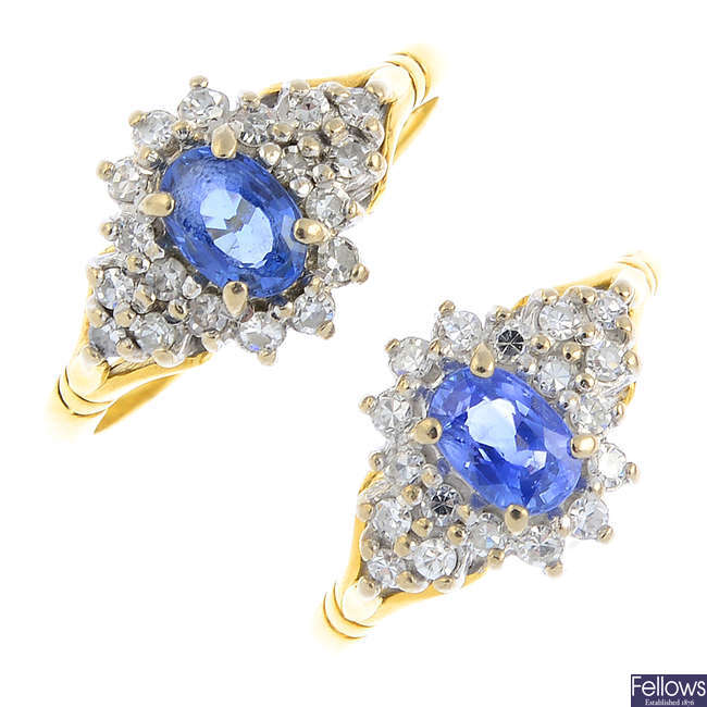 Two 18ct gold sapphire and diamond cluster rings.
