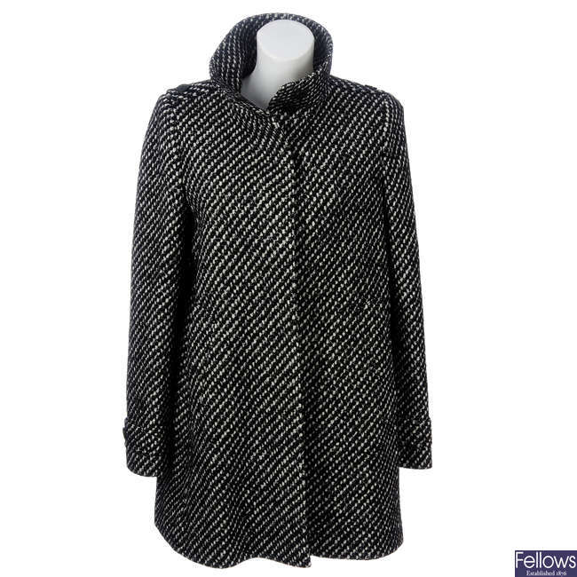 BURBERRY - a black and white three-quarter length wool-blend coat.