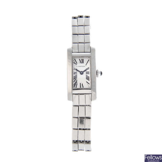 CARTIER -  an 18ct white gold Tank Americaine bracelet watch.