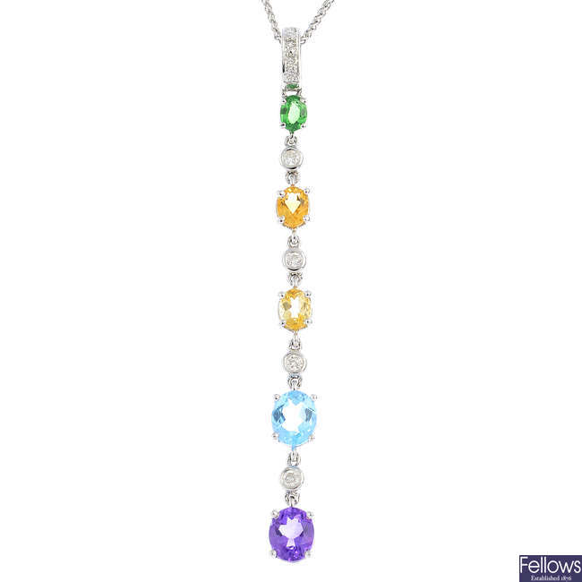 An 18ct gold diamond and gem-set pendant, with chain.