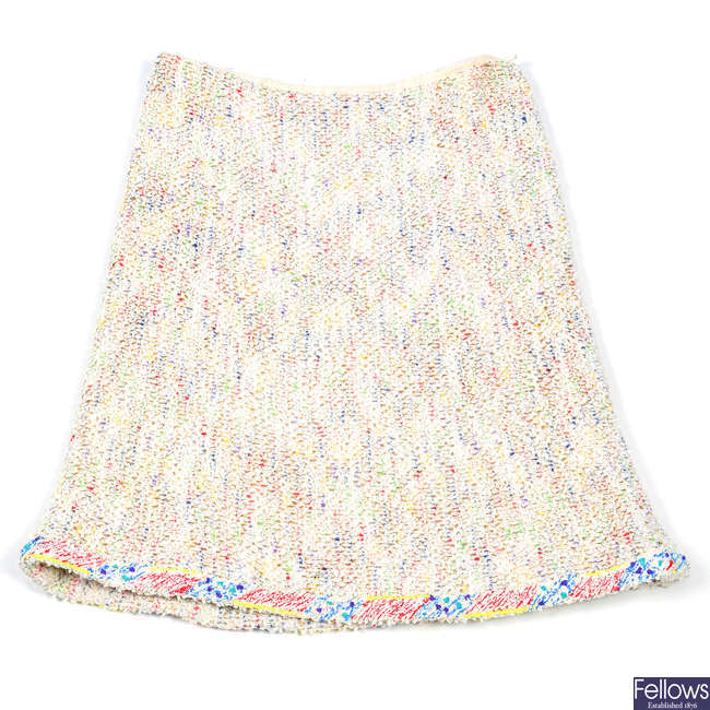 CHANEL - a tweed boucle knee-length skirt.