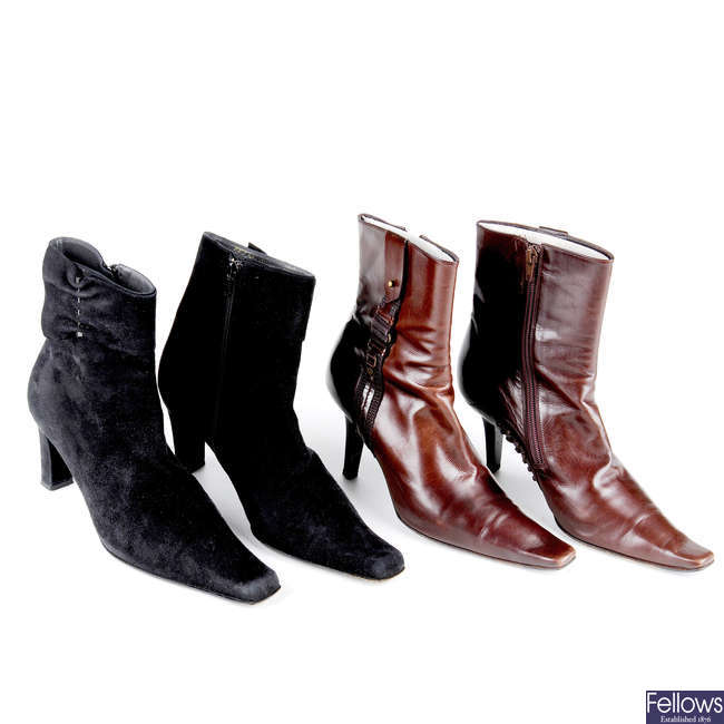 BALENCIAGA - two pairs of ankle boots.