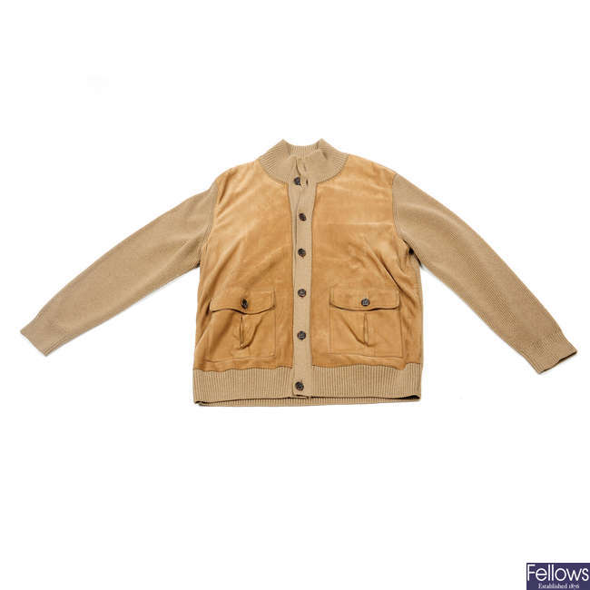 BURBERRY - a beige suede and wool cardigan.
