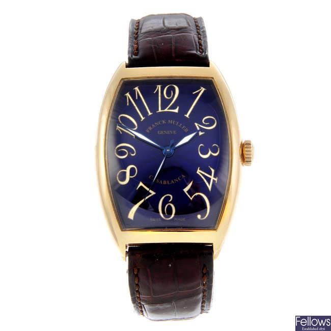 FRANCK MULLER - a gentleman's 18ct yellow gold Casablanca wrist watch.