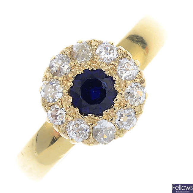 A late Victorian 18ct gold sapphire and diamond cluster ring.