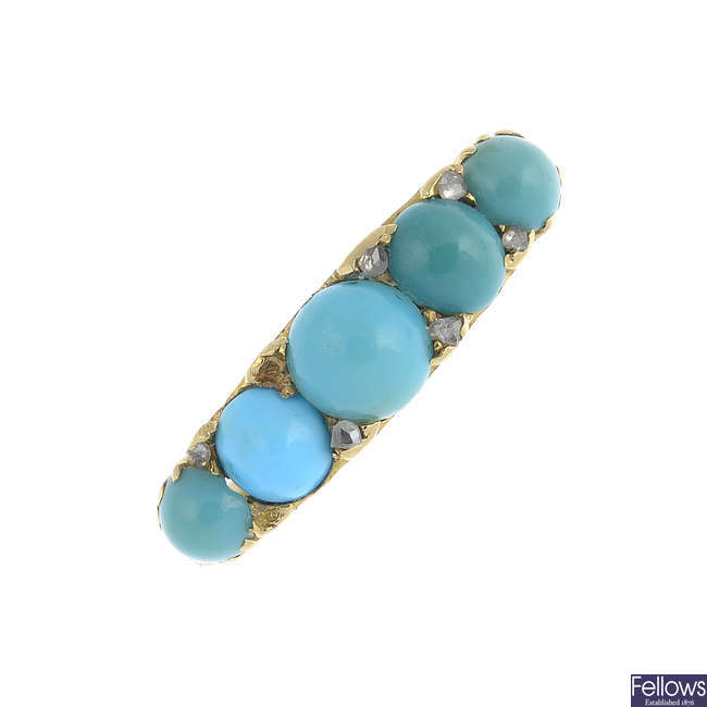 A late Victorian gold turquoise and diamond ring.